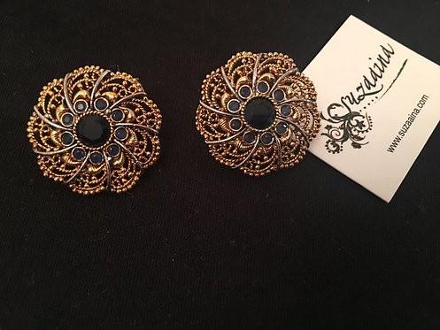 Zimal 22k Gold plated Handcrafted Black and Gold Studs