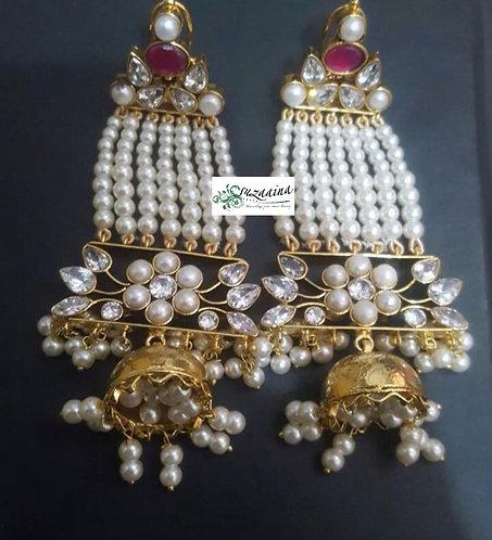 Ujala 22k Gold plated Handcrafted Kundan Earrings .