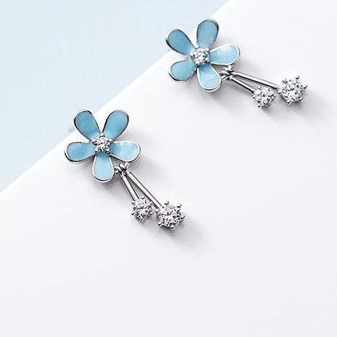 Aneela 925 Sterling Silver Flower Vintage Drop Earring.