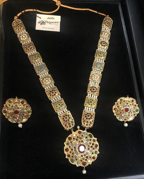Maharani 22k Gold plated Handcrafted Naurattan Kundan and Pearls Mala Set