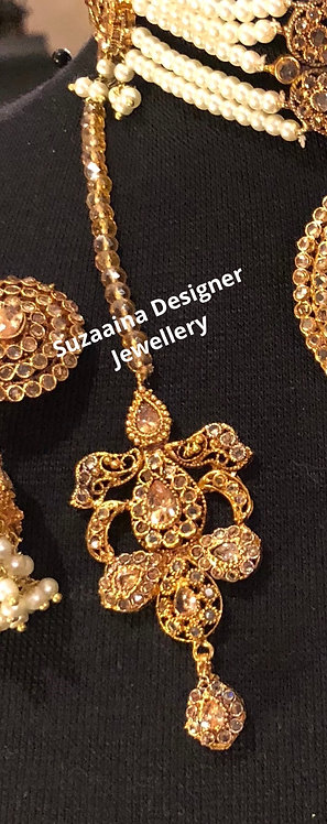 Sahiba 22k Gold plated Jhumer and Tikka Set.
