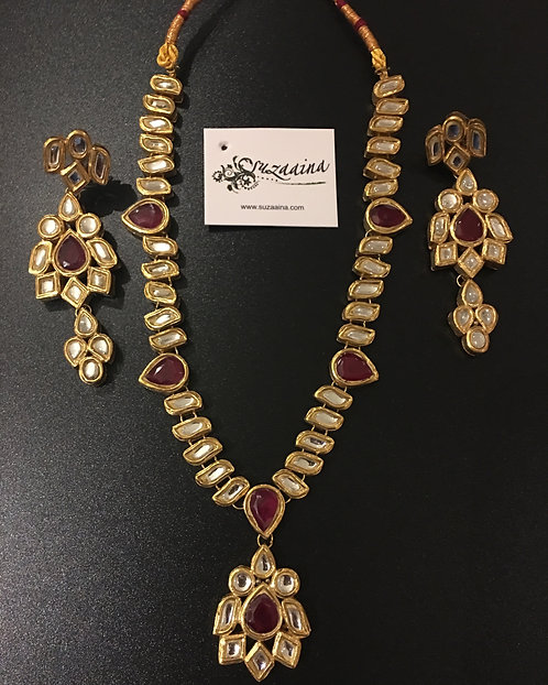 Kinza 24k Gold plated Handcrafted Thapa Kundan Necklace Set