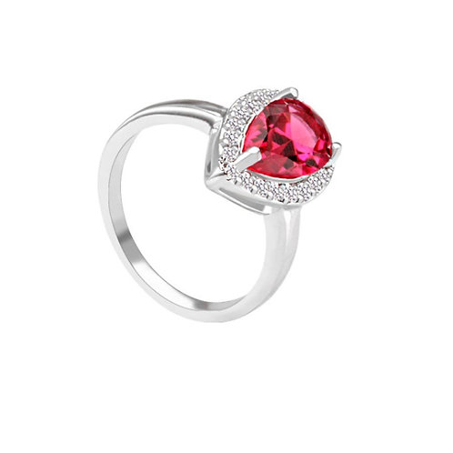 Gazelle Platinum plated Cubic Zirconia Ruby Ring.
