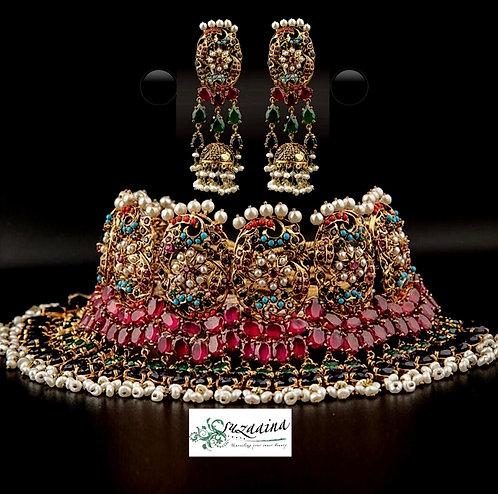 Aaraaish 22k Gold plated Handcrafted Bridal Choker Set.