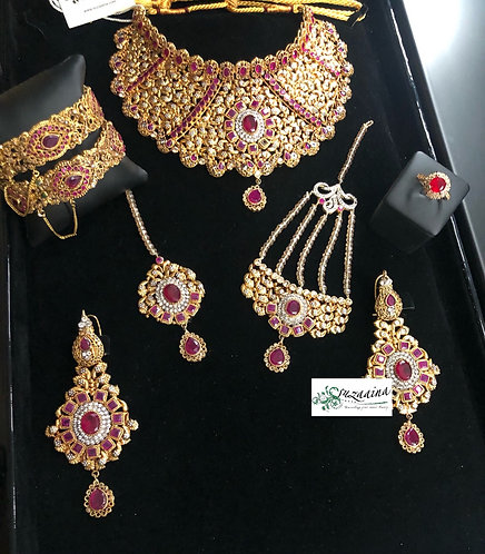 Dareefa 22k Gold plated Handcrafted Bridal Set.