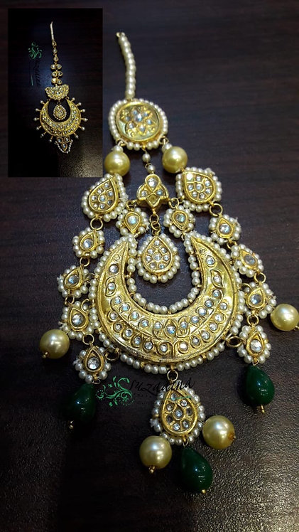 Jogin 22k Gold plated Handcrafted Kundan Jhumer Tikka Set.