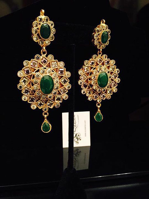 Royal 22k Gold plated Handcrafted Kundan Earrings