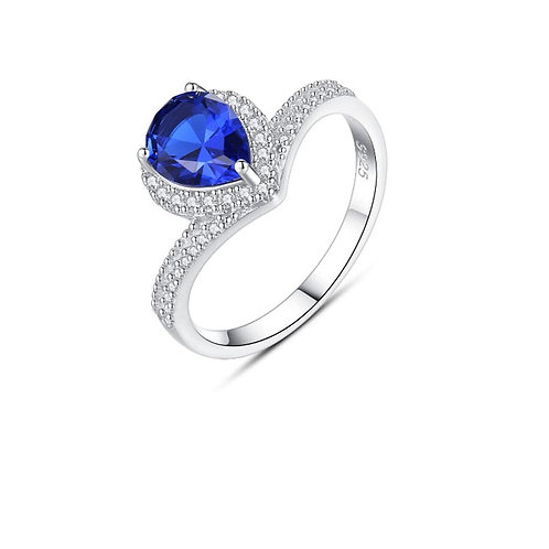 Neelam 925 Sterling Silver Cubic Zirconia Sapphire Heart  Ring