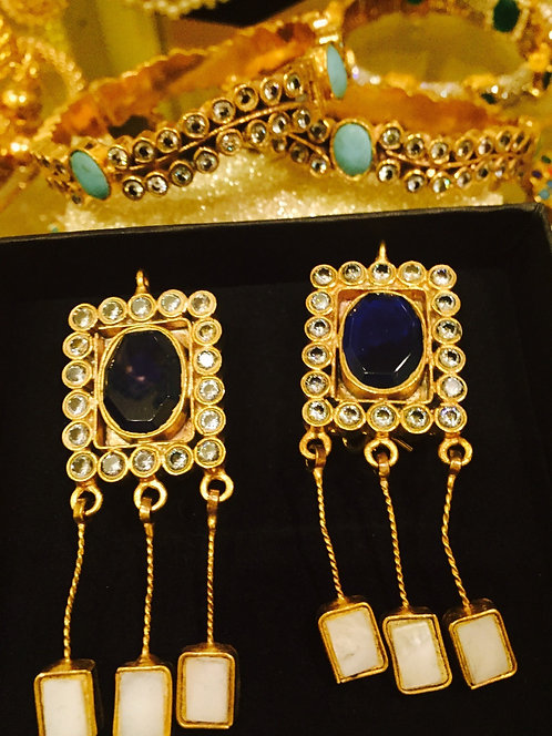 Jade 22k Gold plated Handcrafted stone  Earrings
