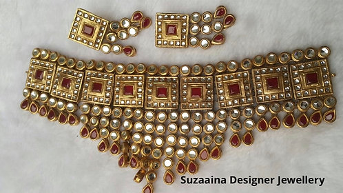 Ameer 22k Gold plated Handcrafted Kundan Choker Set.