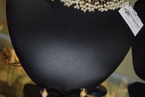 Gul-e-rana Gold plated Handcrafted Multi Stones and Pearls Necklace/ Choker Set