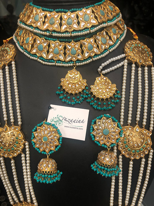 Mehreen 22k Gold plated Kundan Set with Queen Mala.