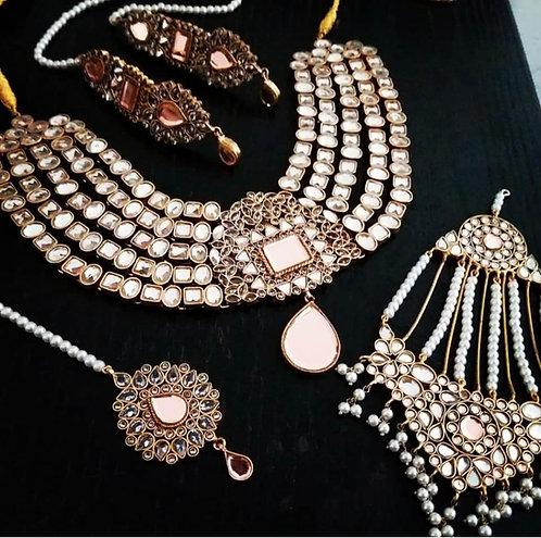 Zil-e-Huma 22k Gold plated Handcrafted Kundan Bridal Set