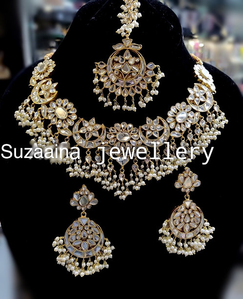Baila 22k Gold plated Handcrafted Kundan and Pearls Set.