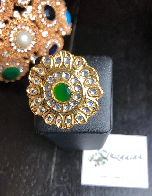 Joy 22k Gold plated Handcrafted Kundan Ring (Adjustable size)