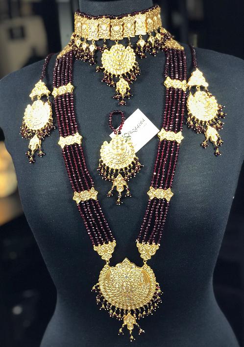 Aira 22k Gold plated Handcrafted Thapa Kundan Bridal Set.