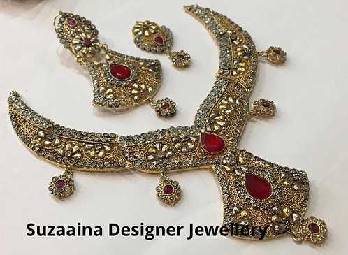 Ambir 22k Gold plated Handcrafted Bridal Set.