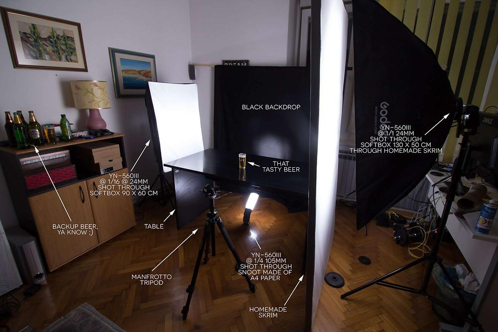 Prikaz pozicije rasvjete za fotografiranje proizvoda čaše piva