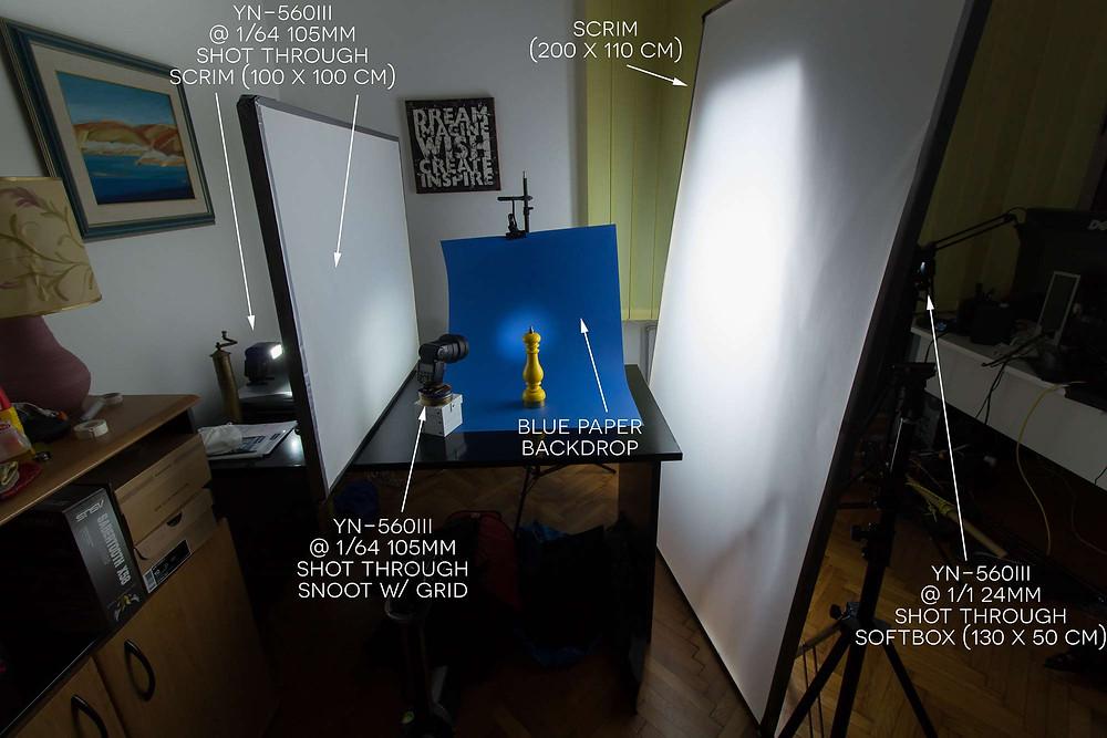 Prikaz rasporeda rasvjete za fotografiranje proizvoda