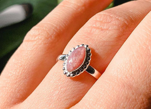 Marquise Beaded Sterling Silver Cremation Ring