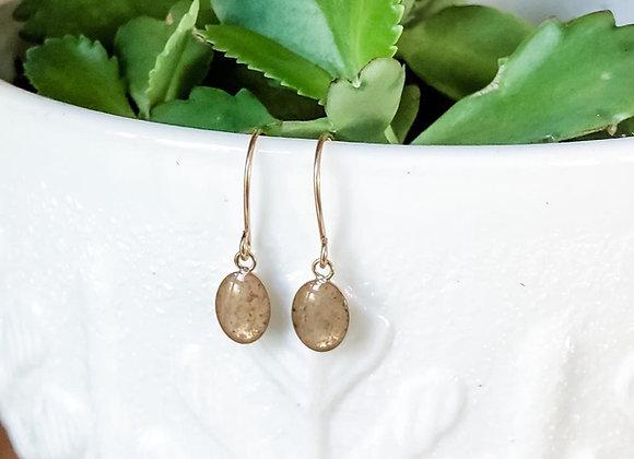 Oval Keepsake Dangle Earrings 14k Gold Filled