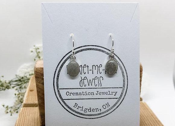 Oval Keepsake Dangle Earrings Sterling Silver