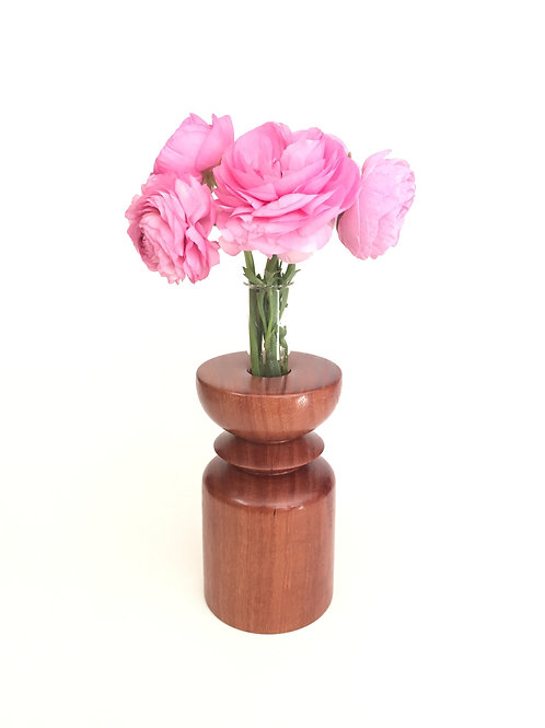 Redgum vase - with glass test tube