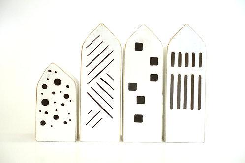 Tealight Holder - Modern White Building  - LIttle Wooden Houses