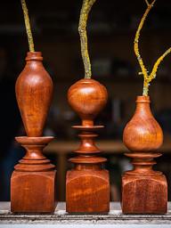 mahogany dry vases