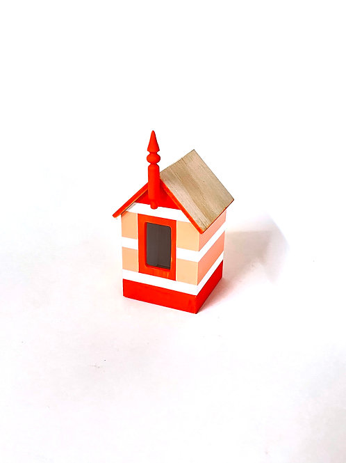 miniature beach box - red and pink