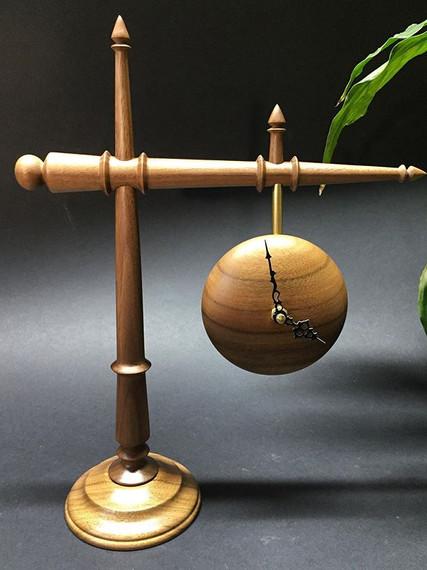 walnut suspended clock