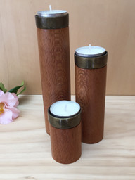 trio of silky oak candle holders