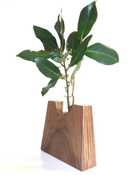 walnut test tube vase