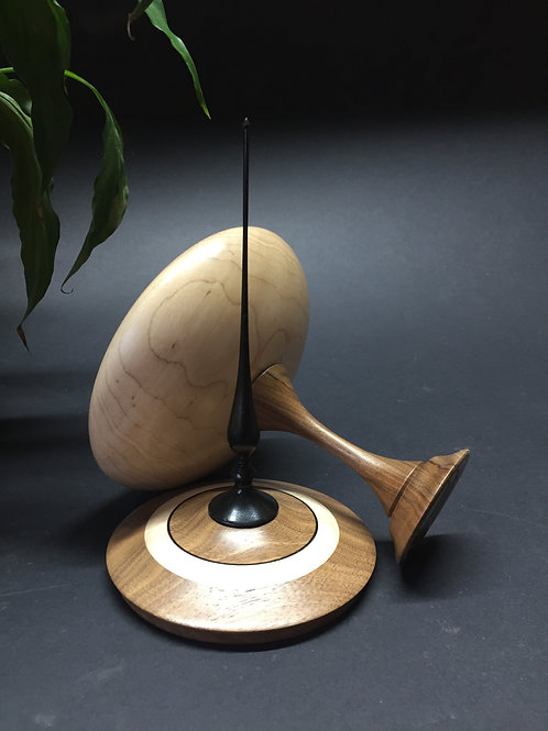 Lidded Container - Maple & Walnut - Tall Finial - Statement Piece - Woodturned -