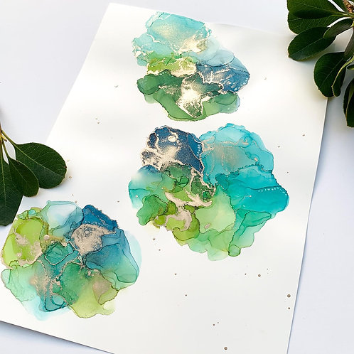 'Under the Sea' - A4 Alcohol Ink Painting