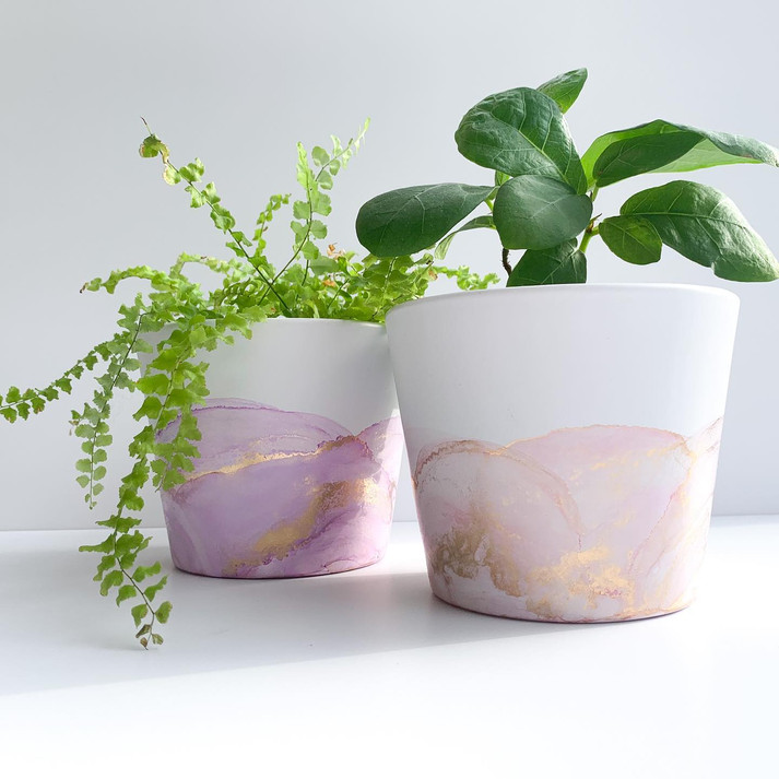 Mini Pots - Pastel Purple/Pink & Gold