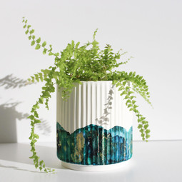 Ribbed Pot in 'Blue Lagoon'