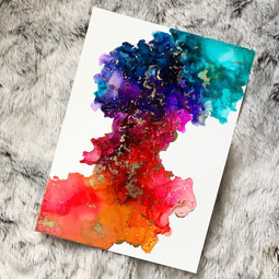 Rainbow A4 Alcohol ink Painting