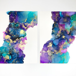 A4 Alcohol Ink Diptych