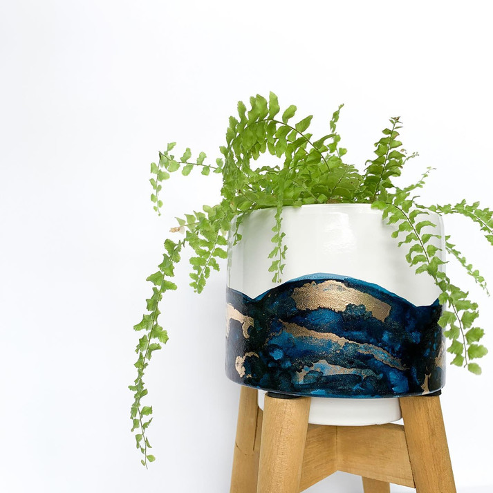 Mini Stand Pot - Navy & Gold