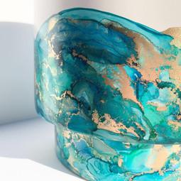 Large Raised Pot in 'Blue Lagoon'
