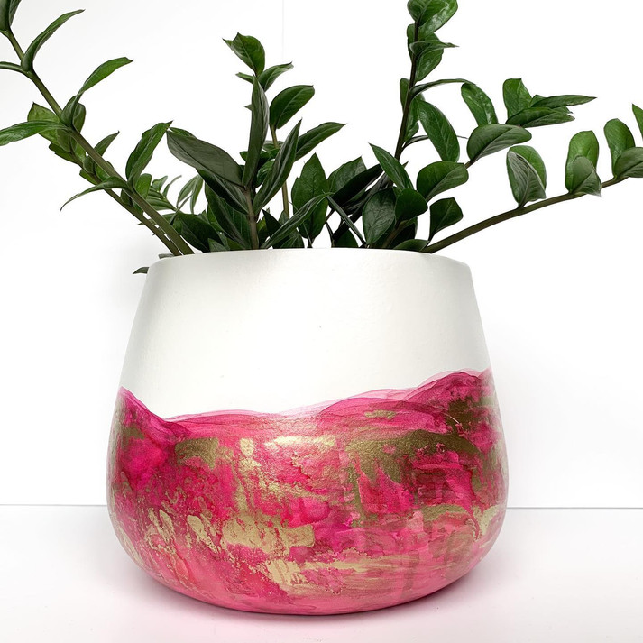Large Rounded Pot - Pink & Gold