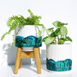 Mini Stand Pot and Ribbed Pot in 'Blue Lagoon'