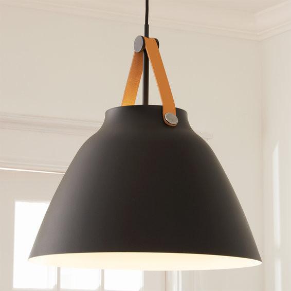 Matte black metal and leather oversized pendant light