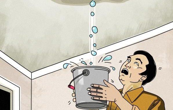 ceiling leak cartoon surprised homeowner
