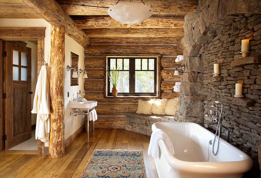 Wood and stone used in master bathroom