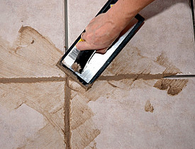 grout applied to porcelain tile