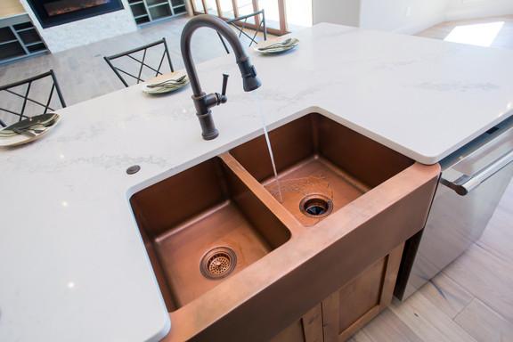 Copper Sink Farmhouse Modern Mediterrnean Home Kitchen