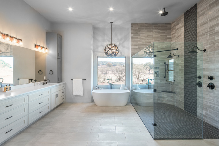 JS2 Partners Modern Luxury Master Bathroom New Construction Summit Rock Golf Course