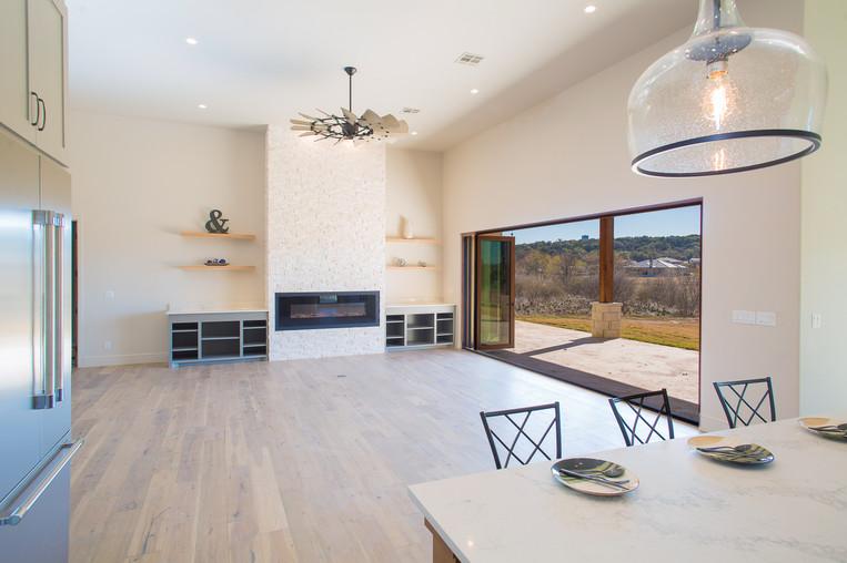 Open Concept Modern Mediterranean Kitchen Living Room